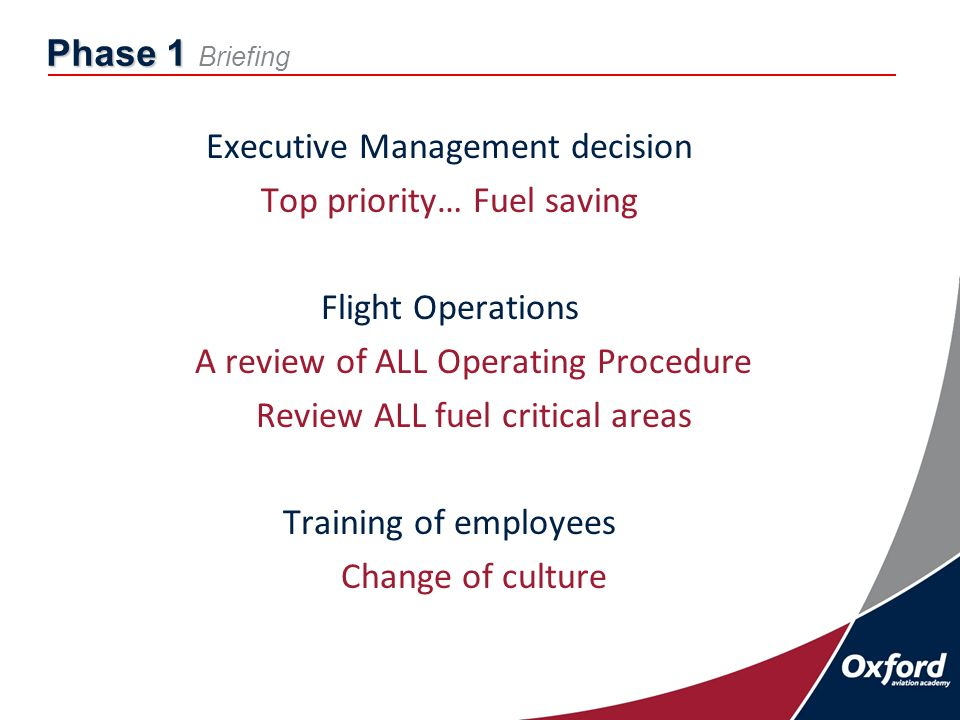 Phase 1 Phase 1 Briefing Executive Management decision Top priority… Fuel saving Flight Operations A review of ALL Operating Procedure Review ALL fuel critical areas Training of employees Change of culture