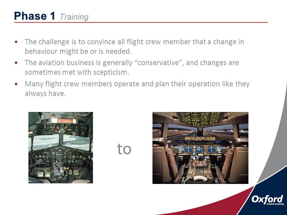 Phase 1 Phase 1 Training The challenge is to convince all flight crew member that a change in behaviour might be or is needed.