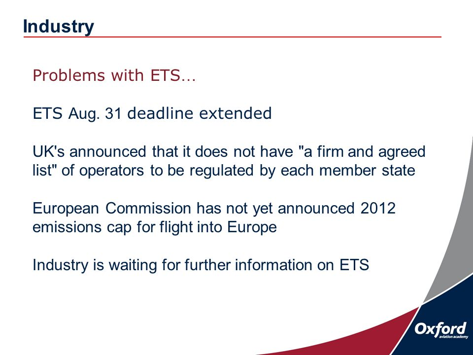 Industry Problems with ETS … ETS Aug.