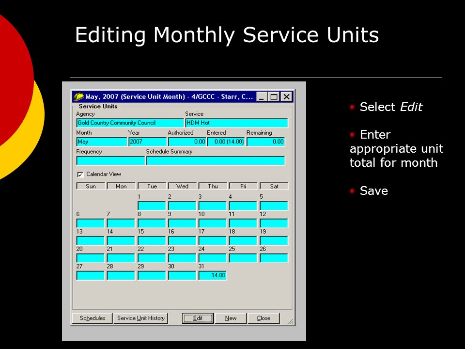 Editing Monthly Service Units Select Edit Enter appropriate unit total for month Save