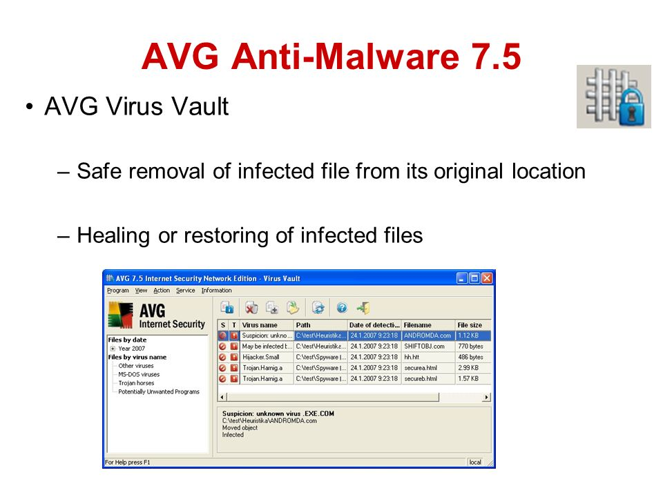 AVG Virus Vault –Safe removal of infected file from its original location –Healing or restoring of infected files AVG Anti-Malware 7.5