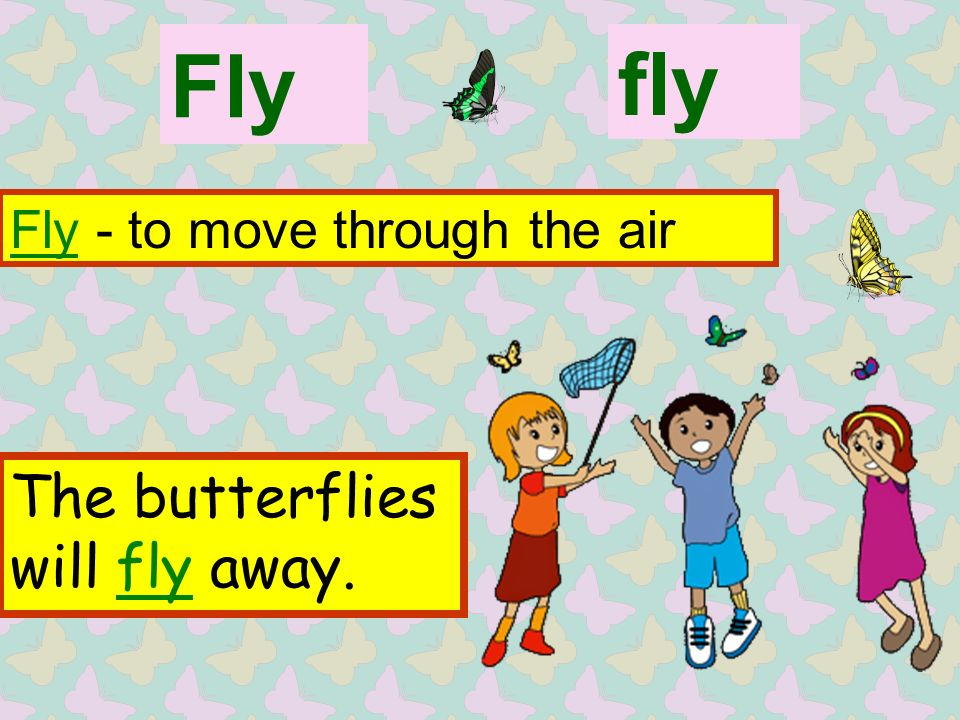 Fly Fly - to move through the air fly The butterflies will fly away.