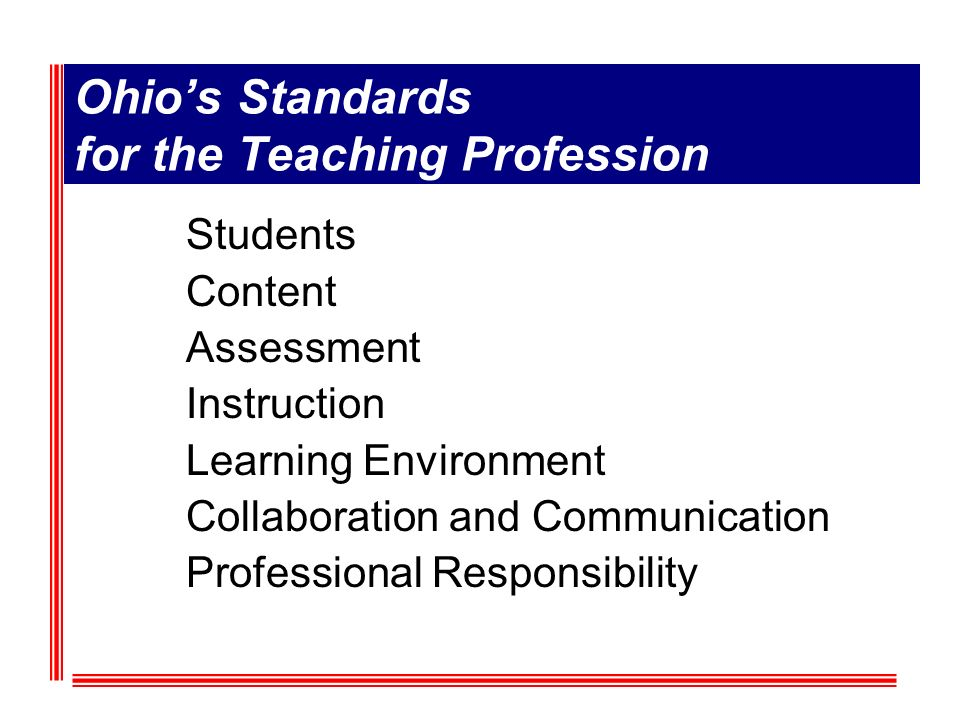 Ohios Standards for the Teaching Profession Students Content Assessment Instruction Learning Environment Collaboration and Communication Professional Responsibility