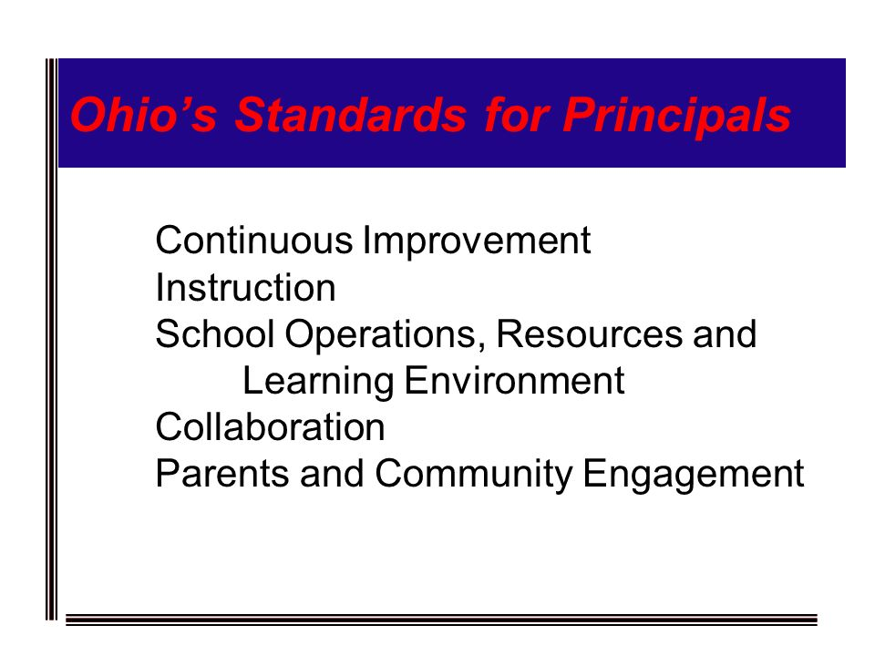 Ohios Standards for Principals Continuous Improvement Instruction School Operations, Resources and Learning Environment Collaboration Parents and Community Engagement