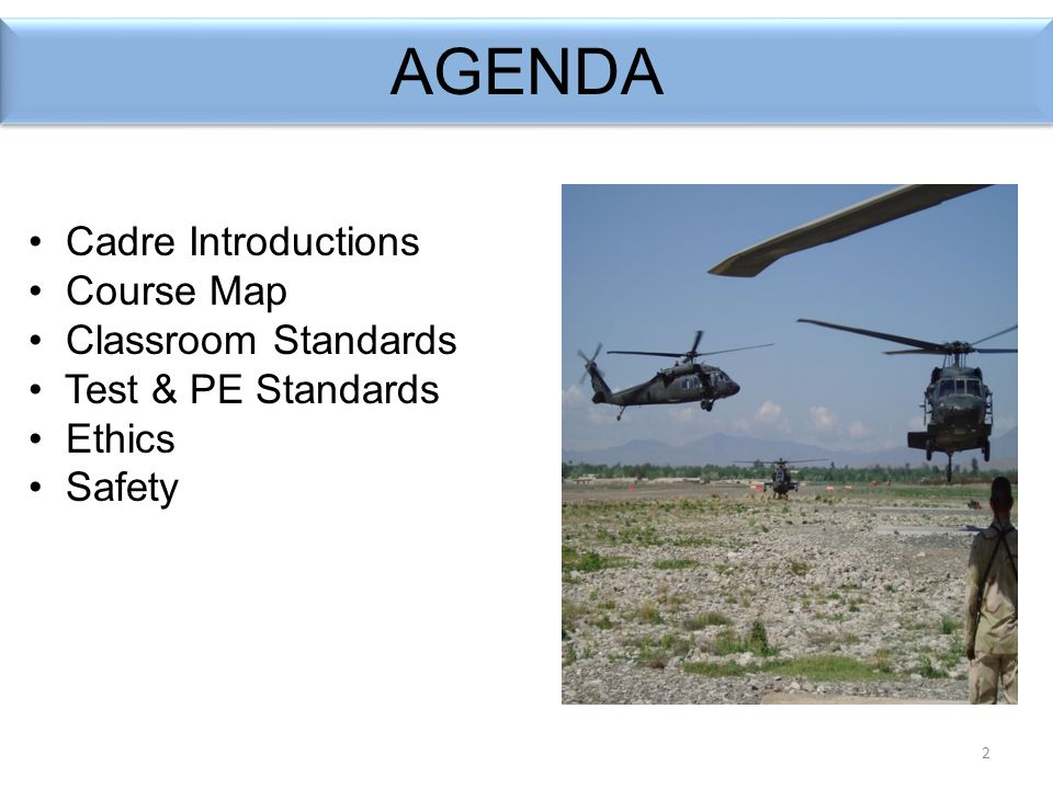 2 AGENDA Cadre Introductions Course Map Classroom Standards Test & PE Standards Ethics Safety