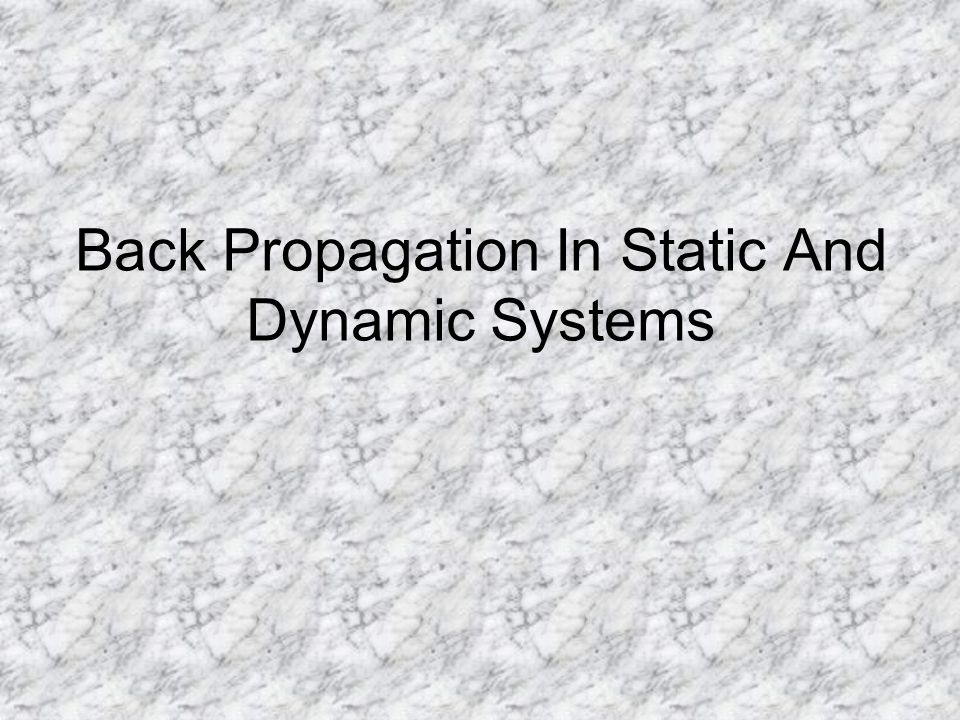 Back Propagation In Static And Dynamic Systems