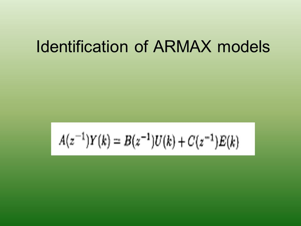 Identification of ARMAX models