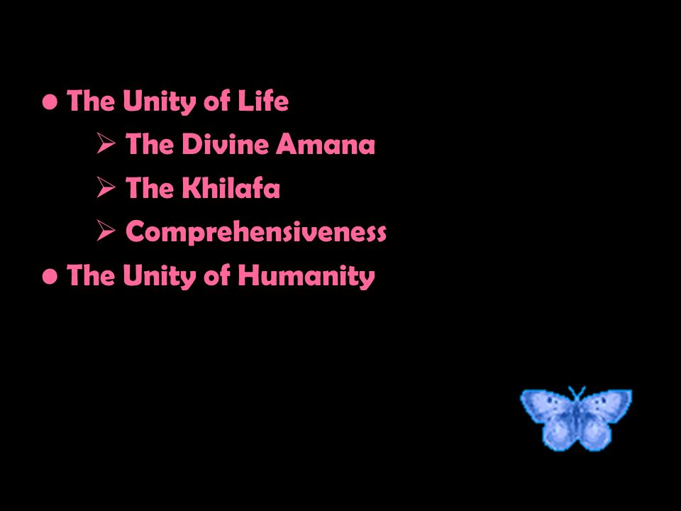 The Unity of Life The Divine Amana The Khilafa Comprehensiveness The Unity of Humanity