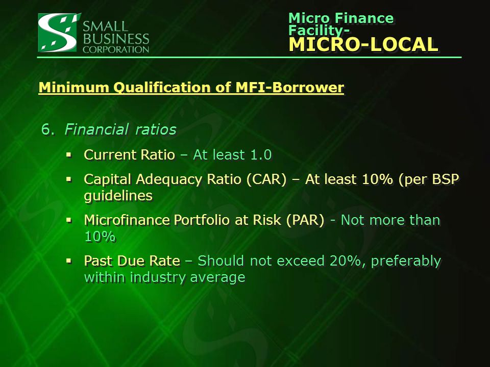 Micro Finance Facility- MICRO-LOCAL MICRO-LOCAL Minimum Qualification of MFI-Borrower 6.