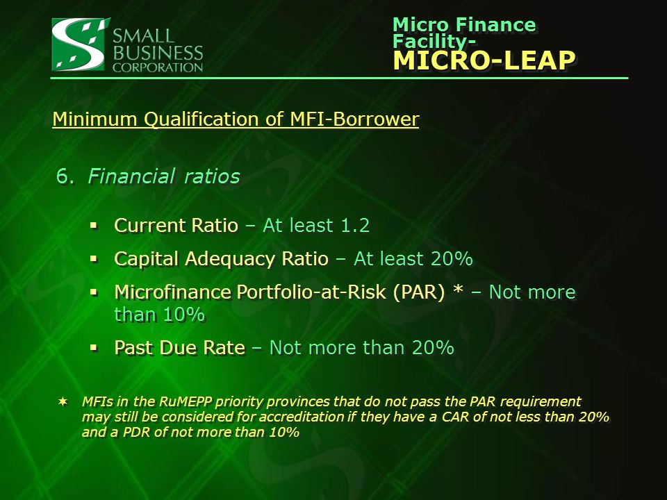 Micro Finance Facility- MICRO-LEAP MICRO-LEAP Minimum Qualification of MFI-Borrower 6.