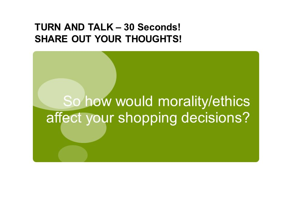 So how would morality/ethics affect your shopping decisions.
