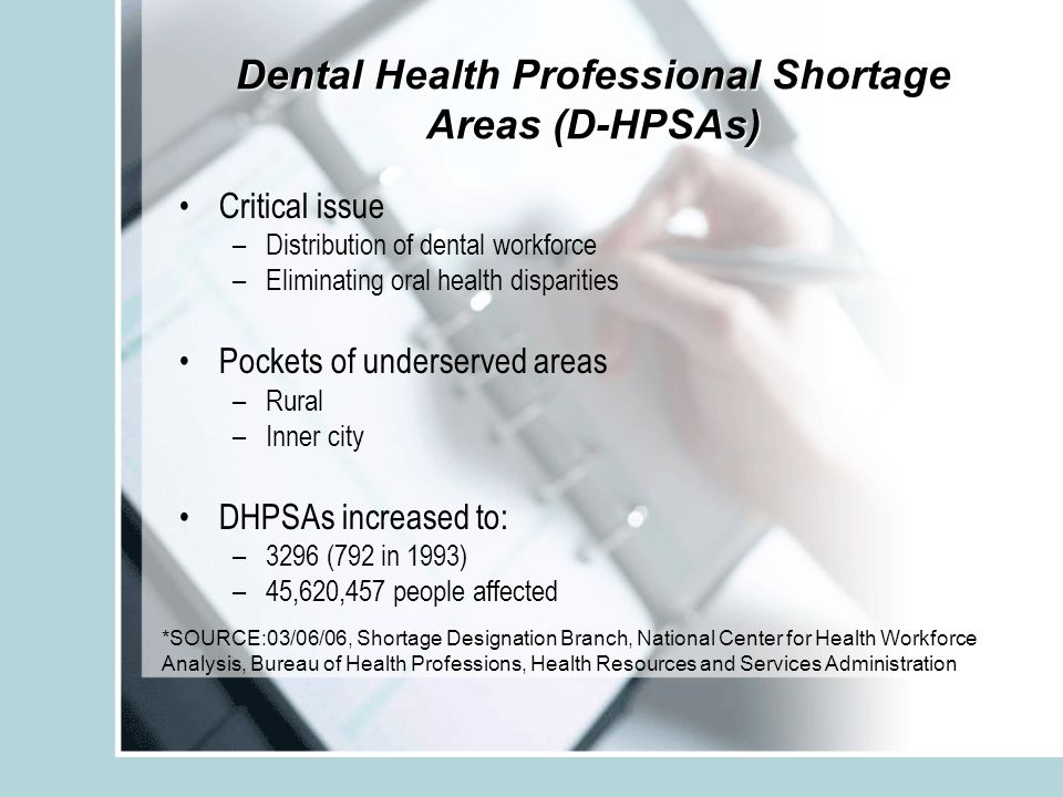 Dental Health Professional Shortage Areas (D-HPSAs) Critical issue –Distribution of dental workforce –Eliminating oral health disparities Pockets of underserved areas –Rural –Inner city DHPSAs increased to: –3296 (792 in 1993) –45,620,457 people affected *SOURCE:03/06/06, Shortage Designation Branch, National Center for Health Workforce Analysis, Bureau of Health Professions, Health Resources and Services Administration