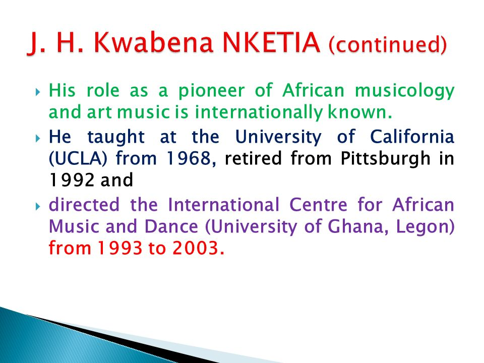 His role as a pioneer of African musicology and art music is internationally known.