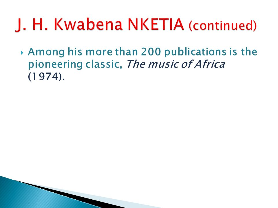 Among his more than 200 publications is the pioneering classic, The music of Africa (1974).