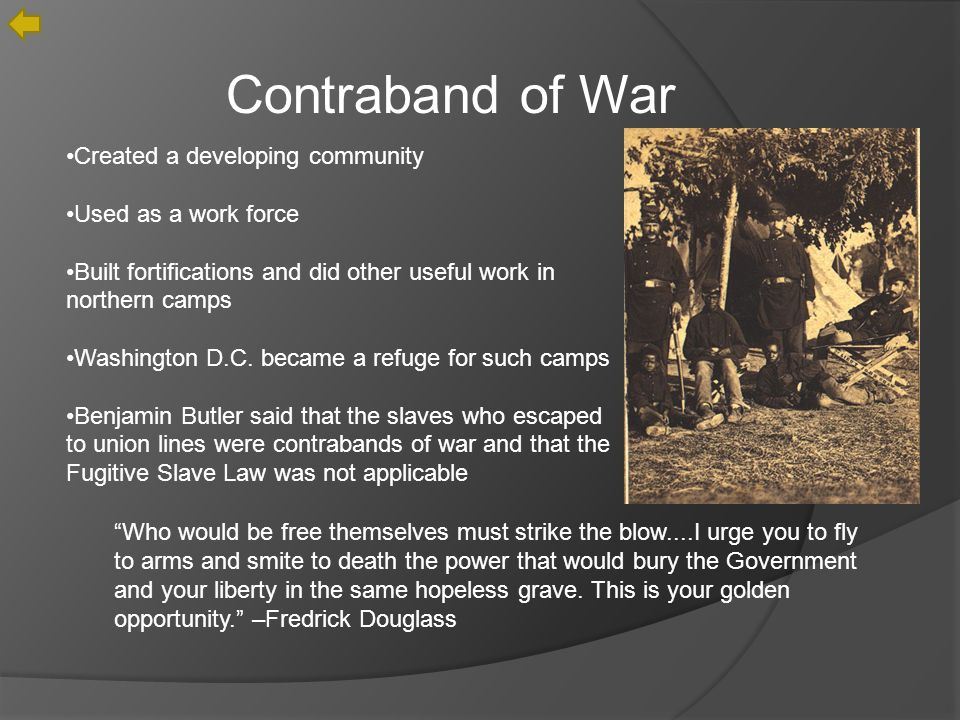 Contraband of War Created a developing community Used as a work force Built fortifications and did other useful work in northern camps Washington D.C.