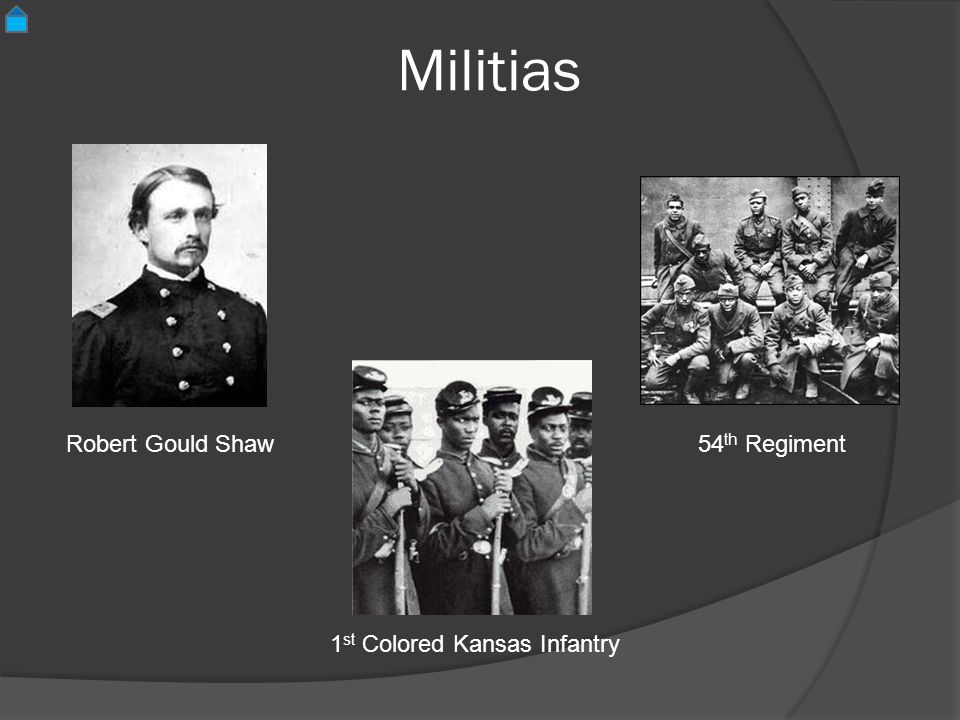 Militias 54 th Regiment Robert Gould Shaw 1 st Colored Kansas Infantry