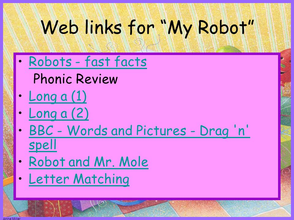 Web Links You should be able to click on these sites and go to them by pointing and clicking.