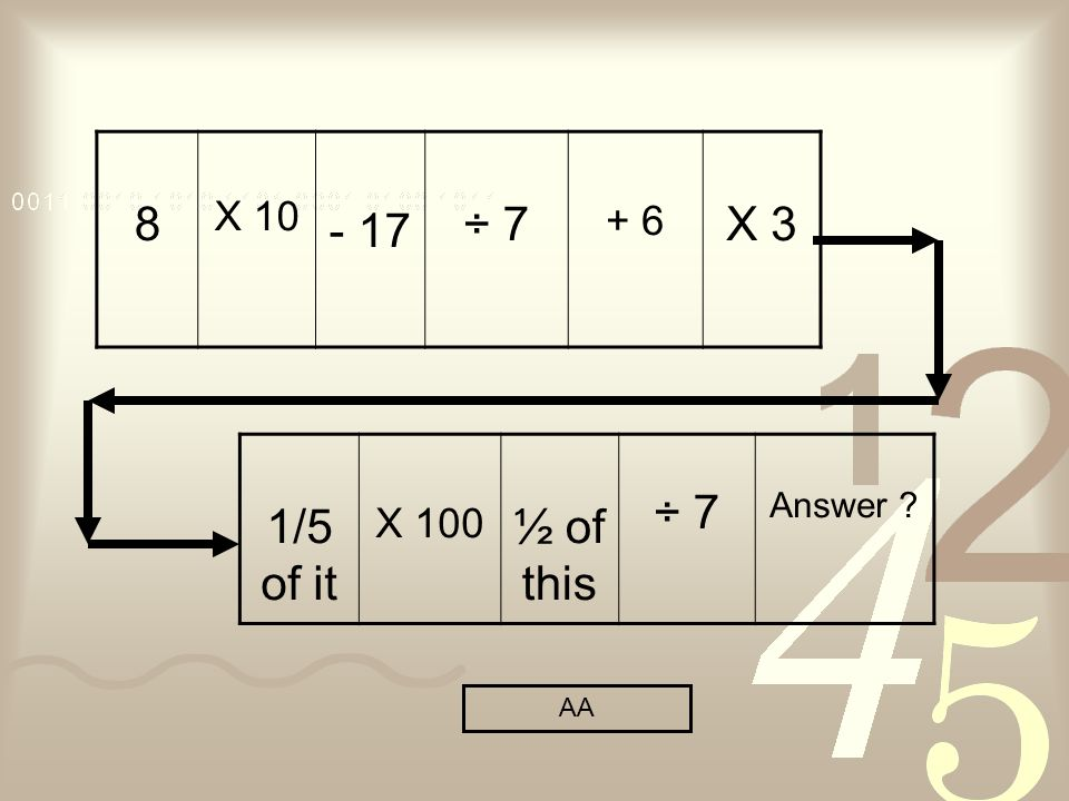 8 X ÷ X 3 1/5 of it X 100 ½ of this ÷ 7 Answer AA