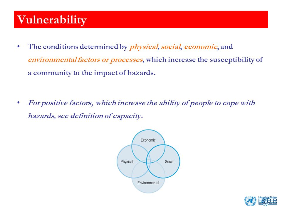 Vulnerability The conditions determined by physical, social, economic, and environmental factors or processes, which increase the susceptibility of a community to the impact of hazards.