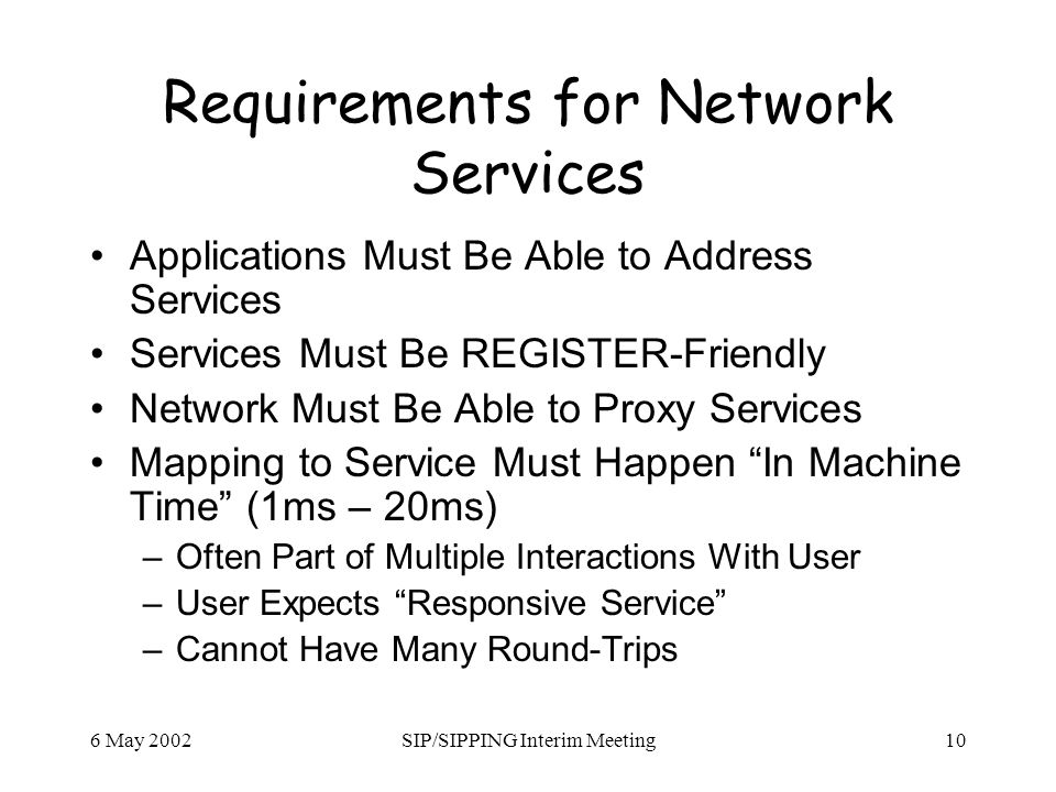 6 May 2002SIP/SIPPING Interim Meeting10 Requirements for Network Services Applications Must Be Able to Address Services Services Must Be REGISTER-Friendly Network Must Be Able to Proxy Services Mapping to Service Must Happen In Machine Time (1ms – 20ms) –Often Part of Multiple Interactions With User –User Expects Responsive Service –Cannot Have Many Round-Trips