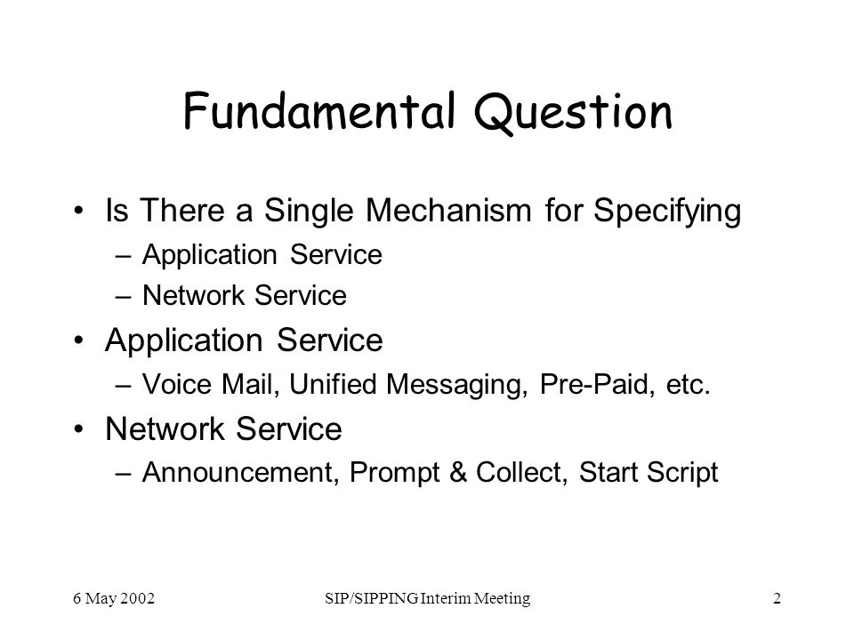 6 May 2002SIP/SIPPING Interim Meeting2 Fundamental Question Is There a Single Mechanism for Specifying –Application Service –Network Service Application Service –Voice Mail, Unified Messaging, Pre-Paid, etc.