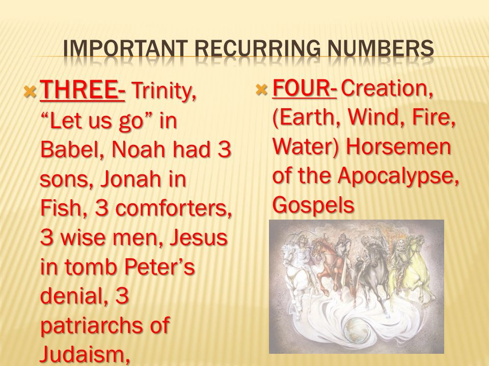 1-Beginning, First 2- Witness, Separation 3- The Godhead, Trinity 4- Earth, Creation 6- Man, Beast, Satan 7- Perfection, Completeness 10- Law, Government, Restoration 12- Divine government, Apostles 13- Rebellion, apostacy 30- Consecration, maturity 40- Trial, Test, Probation 75- Separation, cleansing 666- Antichrist, Satan, the damned triplicate