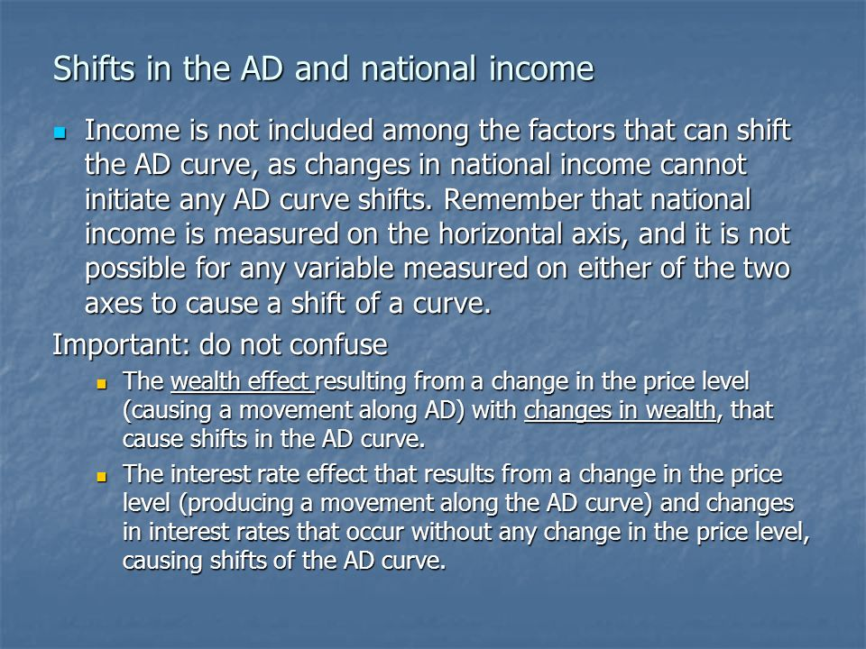 Shifts in the AD and national income Income is not included among the factors that can shift the AD curve, as changes in national income cannot initiate any AD curve shifts.