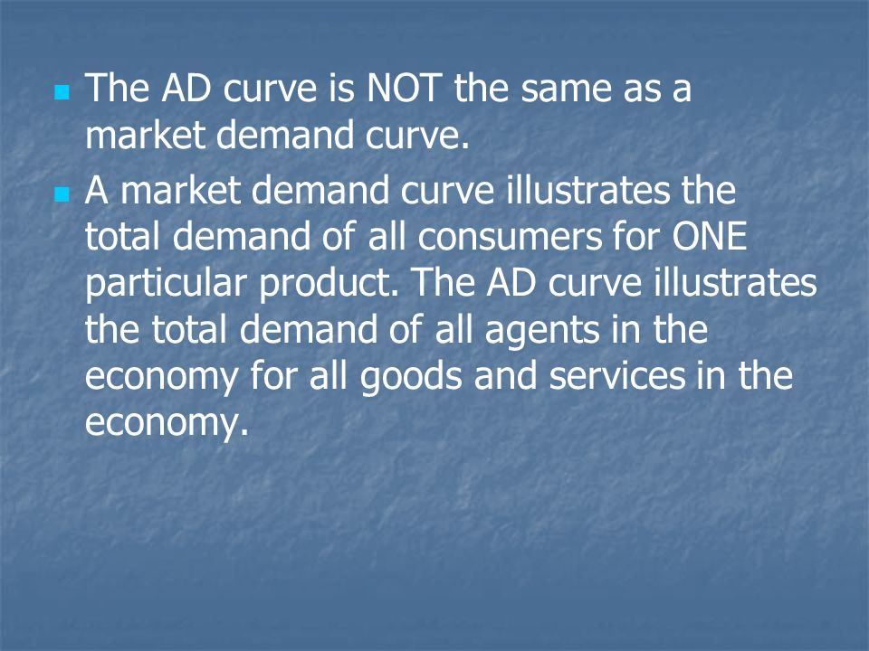 The AD curve is NOT the same as a market demand curve.