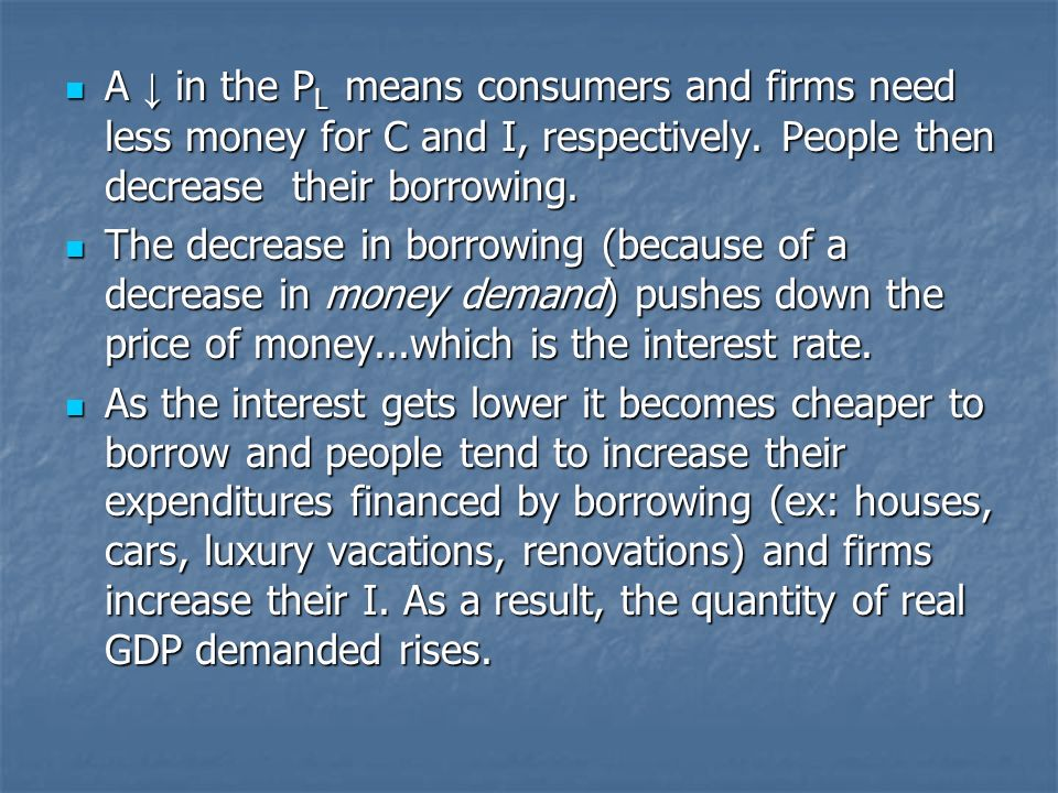 A in the P L means consumers and firms need less money for C and I, respectively.