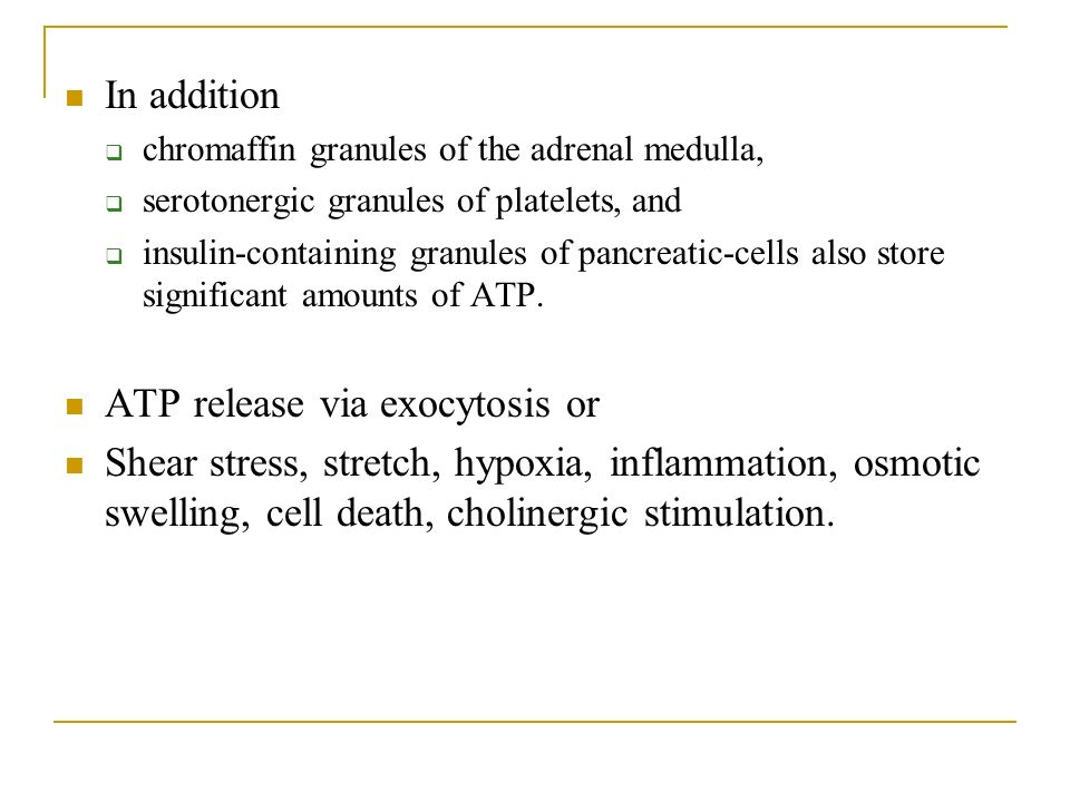 In addition chromaffin granules of the adrenal medulla, serotonergic granules of platelets, and insulin-containing granules of pancreatic-cells also store significant amounts of ATP.