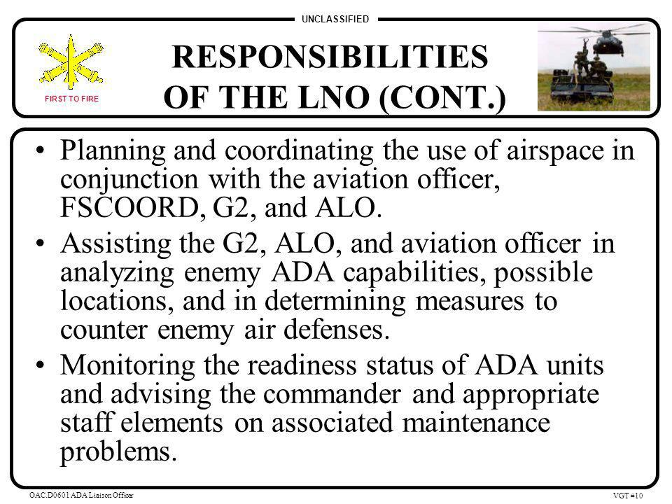 UNCLASSIFIED FIRST TO FIRE OAC.D0601 ADA Liaison Officer VGT #9 RESPONSIBILITIES OF THE LNO (CONT.) Coordinating with the G2 on the integration of ADA systems into the R & S plan.