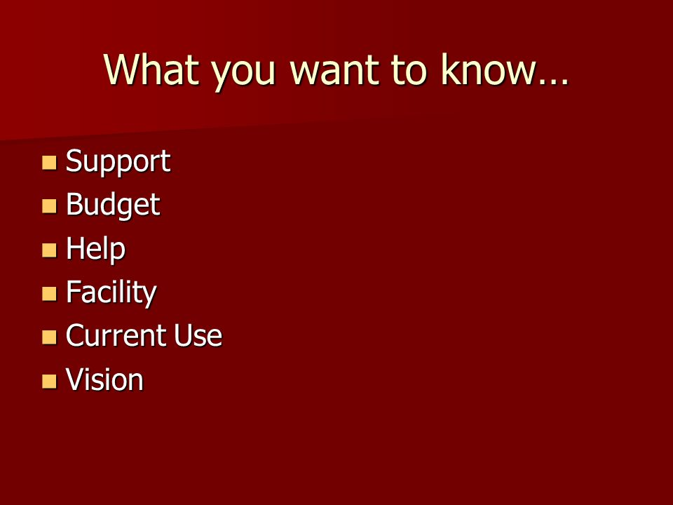 What you want to know… Support Support Budget Budget Help Help Facility Facility Current Use Current Use Vision Vision