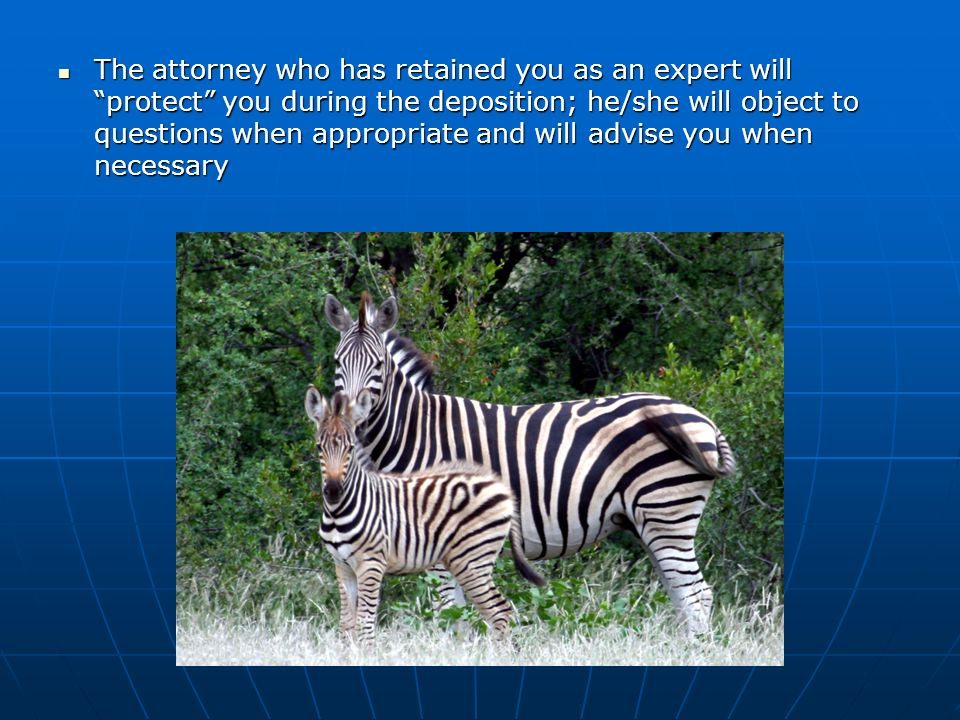 The attorney who has retained you as an expert will protect you during the deposition; he/she will object to questions when appropriate and will advise you when necessary The attorney who has retained you as an expert will protect you during the deposition; he/she will object to questions when appropriate and will advise you when necessary