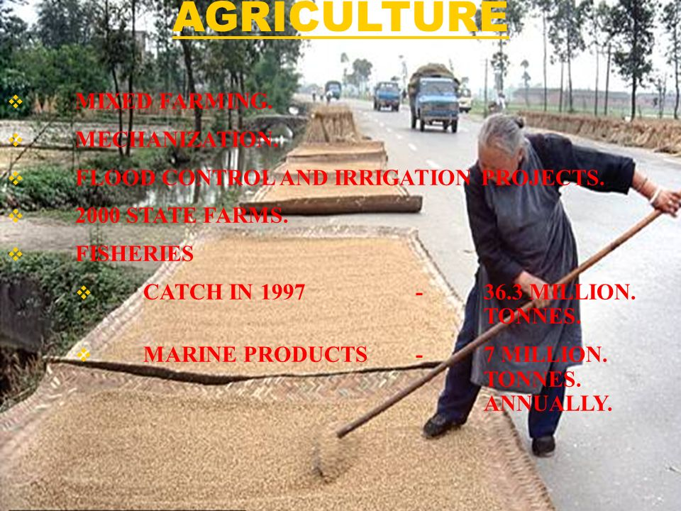 MIXED FARMING. MECHANIZATION. FLOOD CONTROL AND IRRIGATION PROJECTS.