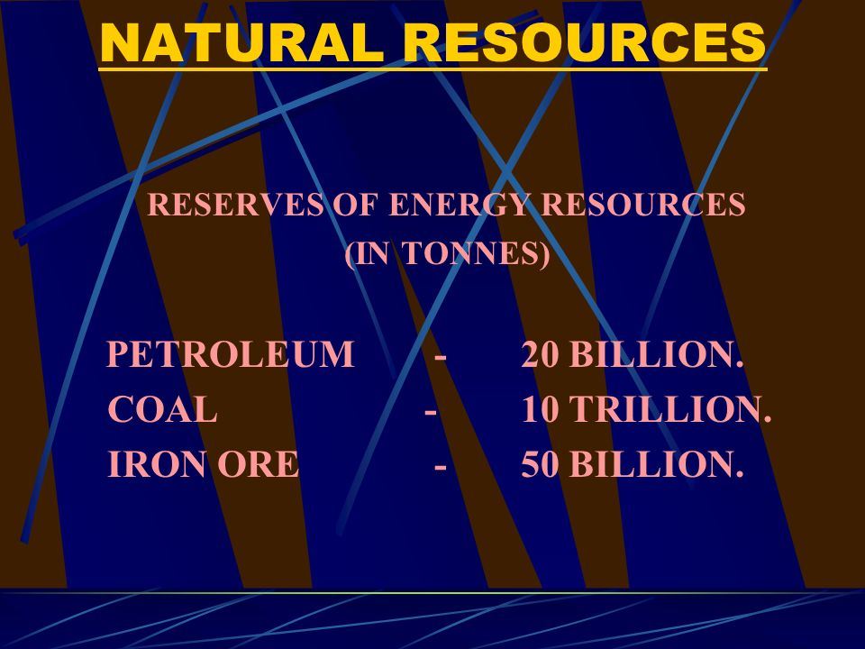 NATURAL RESOURCES RESERVES OF ENERGY RESOURCES (IN TONNES) PETROLEUM- 20 BILLION.