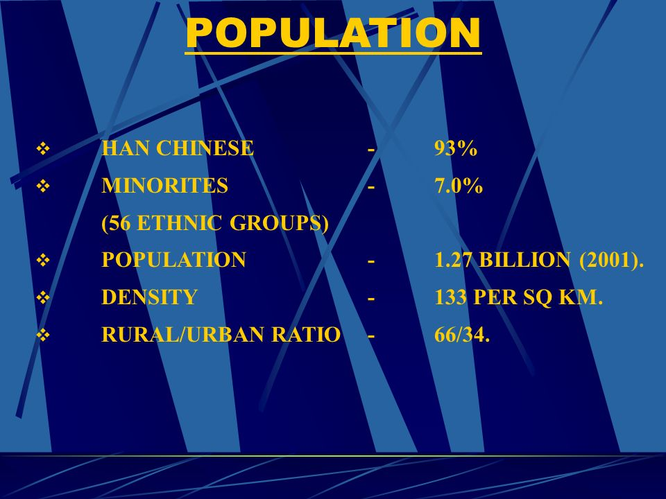 HAN CHINESE-93% MINORITES-7.0% (56 ETHNIC GROUPS) POPULATION-1.27 BILLION (2001).