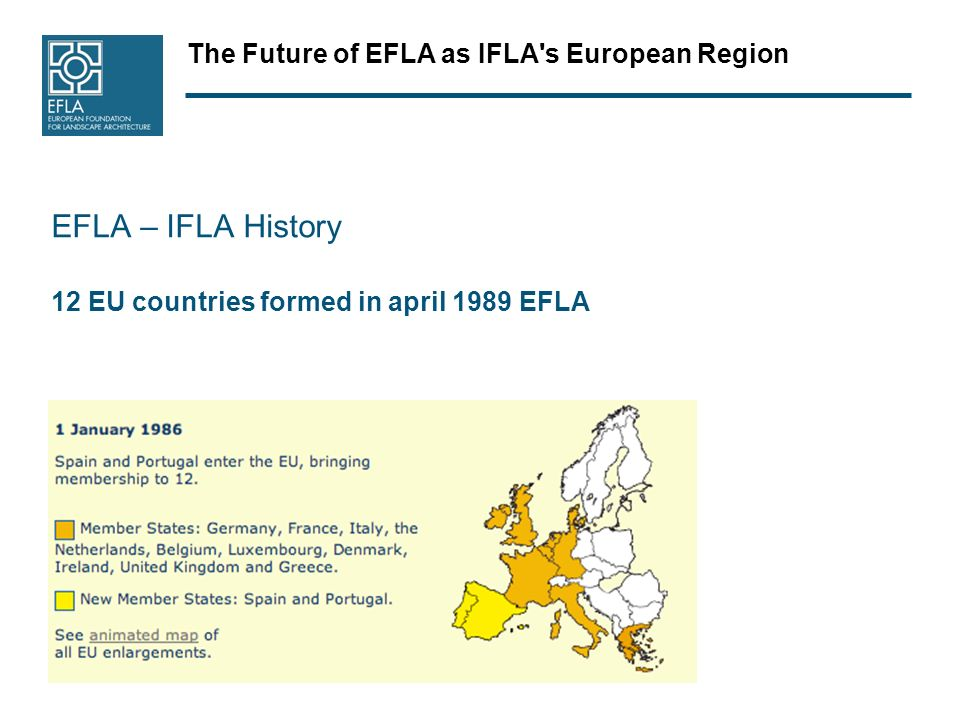 The Future of EFLA as IFLA s European Region EFLA – IFLA History 12 EU countries formed in april 1989 EFLA