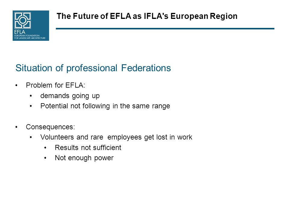 The Future of EFLA as IFLA s European Region Situation of professional Federations Problem for EFLA: demands going up Potential not following in the same range Consequences: Volunteers and rare employees get lost in work Results not sufficient Not enough power