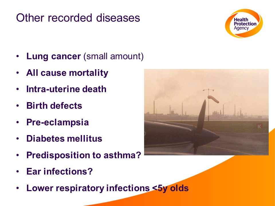 Other recorded diseases Lung cancer (small amount) All cause mortality Intra-uterine death Birth defects Pre-eclampsia Diabetes mellitus Predisposition to asthma.