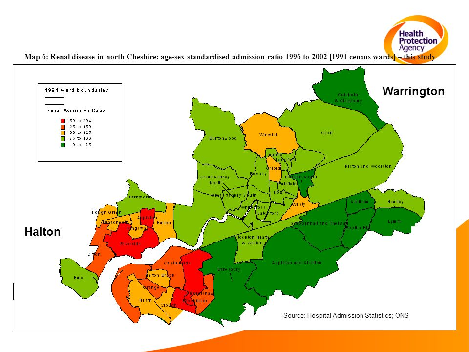 Map 6: Renal disease in north Cheshire: age-sex standardised admission ratio 1996 to 2002 [1991 census wards] – this study Warrington Halton Source: Hospital Admission Statistics; ONS