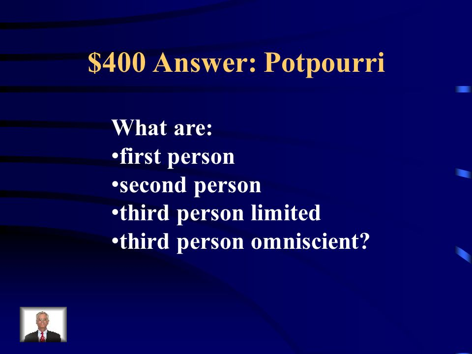 $400 Question: Potpourri The four types of point of view.