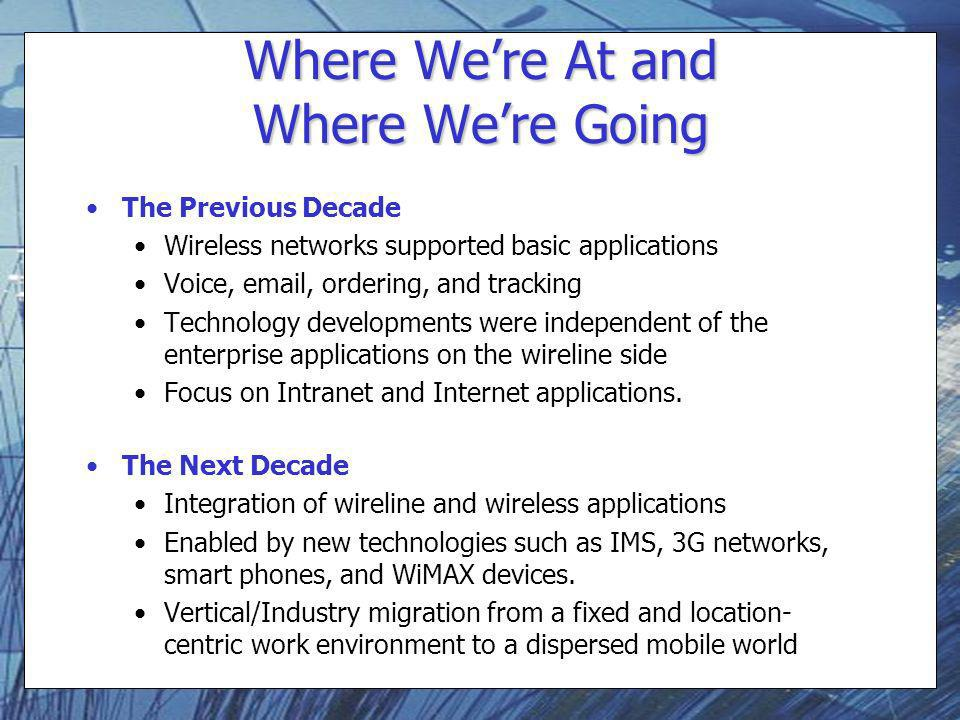 Where Were At and Where Were Going The Previous Decade Wireless networks supported basic applications Voice,  , ordering, and tracking Technology developments were independent of the enterprise applications on the wireline side Focus on Intranet and Internet applications.