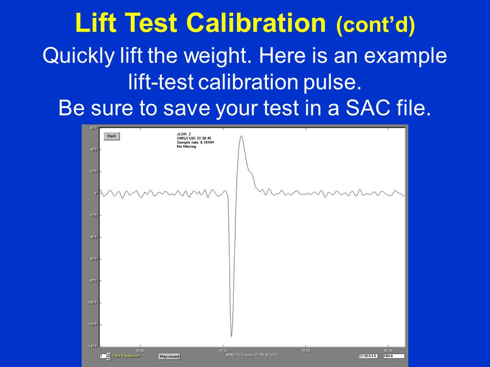 Quickly lift the weight. Here is an example lift-test calibration pulse.