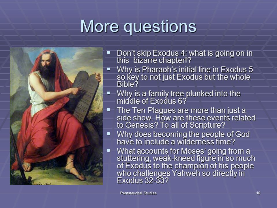 Pentateuchal Studies10 More questions Dont skip Exodus 4: what is going on in this bizarre chapter!.