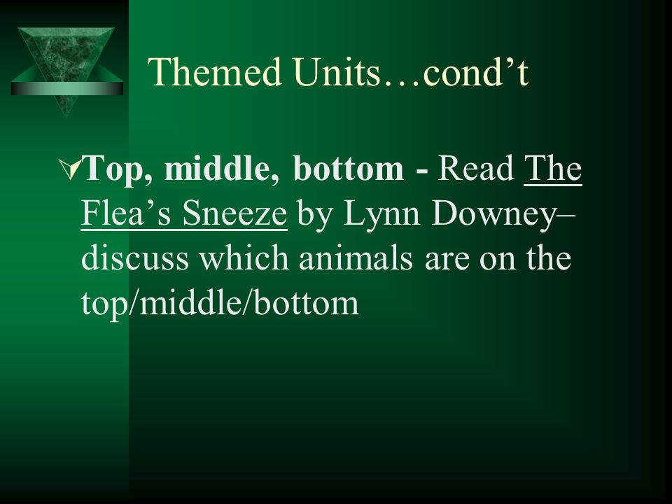 Themed Units…condt Top, middle, bottom - Read The Fleas Sneeze by Lynn Downey– discuss which animals are on the top/middle/bottom