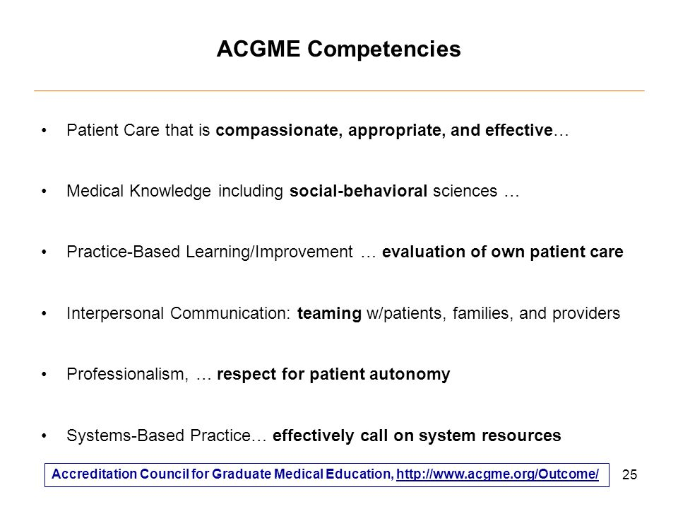 25 ACGME Competencies Patient Care that is compassionate, appropriate, and effective… Medical Knowledge including social-behavioral sciences … Practice-Based Learning/Improvement … evaluation of own patient care Interpersonal Communication: teaming w/patients, families, and providers Professionalism, … respect for patient autonomy Systems-Based Practice… effectively call on system resources Accreditation Council for Graduate Medical Education,