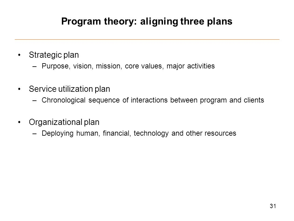 31 Program theory: aligning three plans Strategic plan –Purpose, vision, mission, core values, major activities Service utilization plan –Chronological sequence of interactions between program and clients Organizational plan –Deploying human, financial, technology and other resources