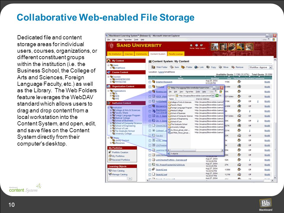 10 Collaborative Web-enabled File Storage Dedicated file and content storage areas for individual users, courses, organizations, or different constituent groups within the institution (i.e.