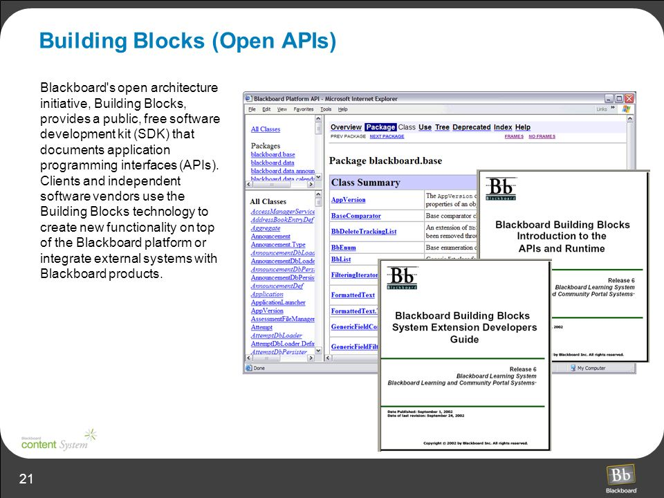 21 Building Blocks (Open APIs) Blackboard s open architecture initiative, Building Blocks, provides a public, free software development kit (SDK) that documents application programming interfaces (APIs).