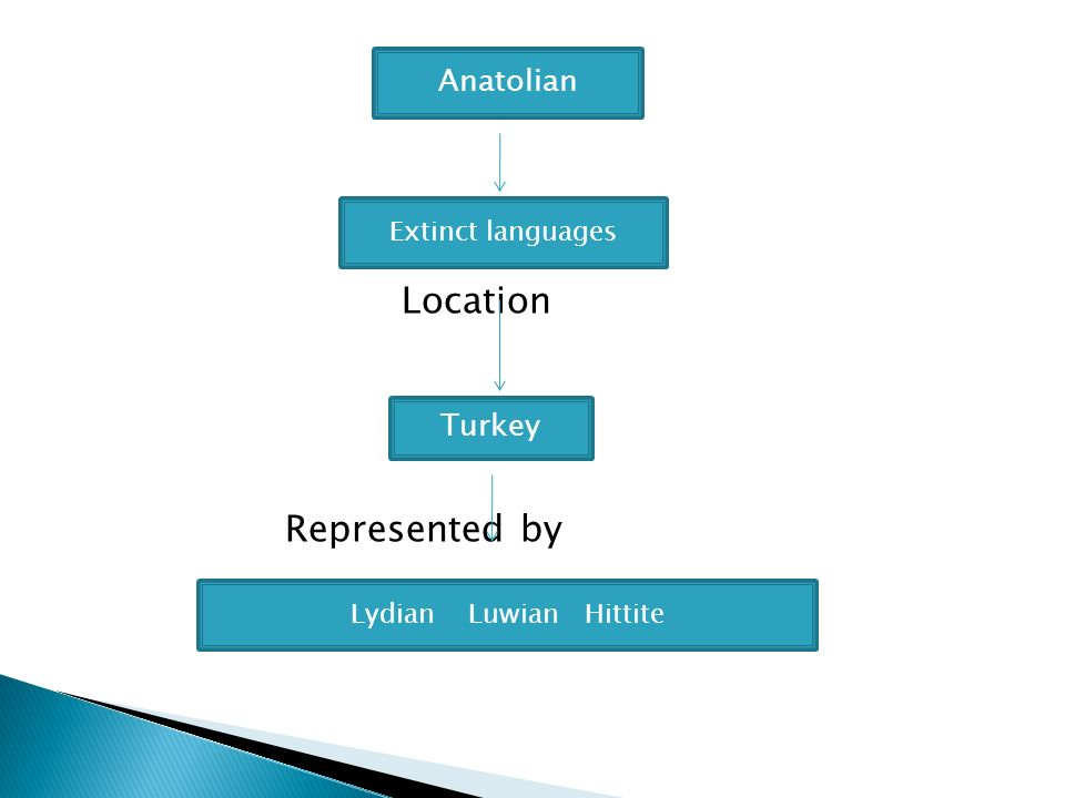 Location Represented by Anatolian Turkey Extinct languages Lydian Luwian Hittite
